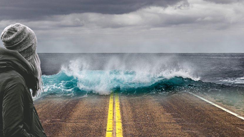 morze, ocean, kobieta, droga