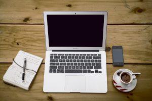 Dom, biuro, komórka, notatnik, kawa, filiżanka