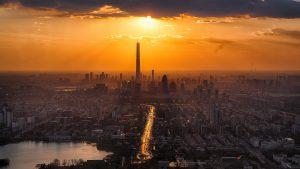 miasto, metropolia, noc, zachód słońca