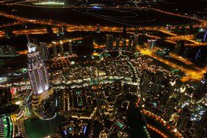 dubaj, noc, miasto, światła.